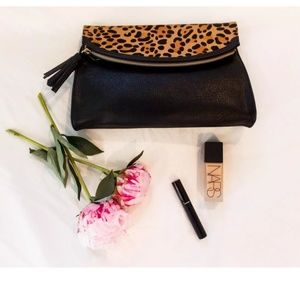 Leopard Print Rounded Fold-Over Clutch
